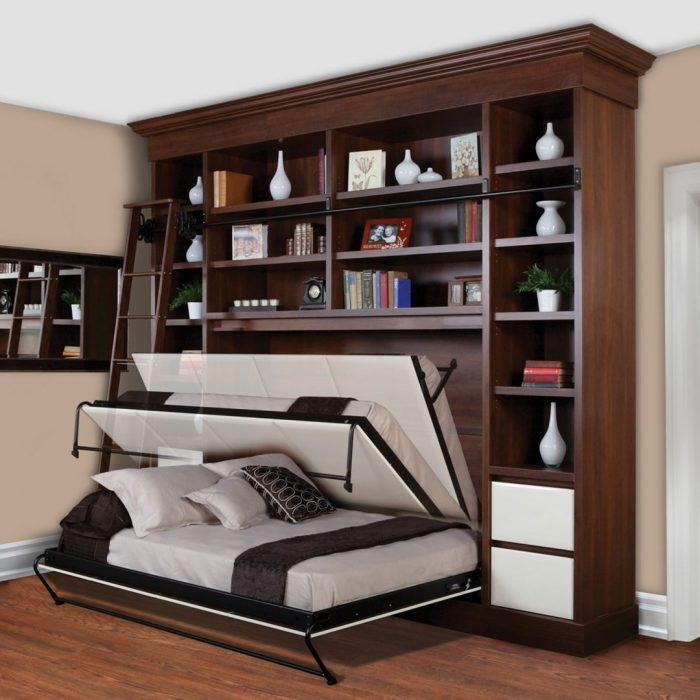 gorgeous-wooden-storage-design-with-white-murphy-bed-kit-lowes-on-wooden-floor-with-creamy-painted-wall